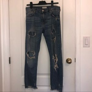 Zara Straight Ripped Jeans